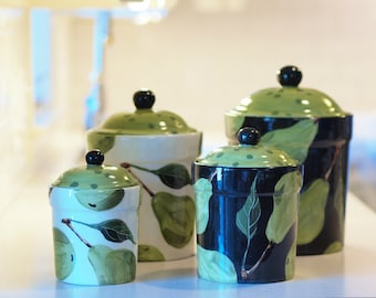Kitchen Canisters Ceramic Canisters Flour and Sugar Canisters Colorful Canisters Pear Canister Set Pottery Canisters Wedding Gift for Bride