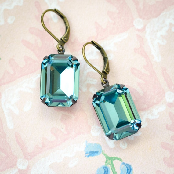 Original Estate Earrings, Indian Sapphire, Swarovski Crystals, Old Hollywood, Bridal Party Jewelry, Vintage Look, Estate Style