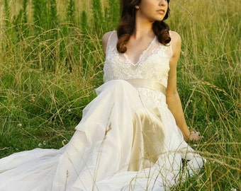 RCB  Plunging V-neck lace custom wedding gown