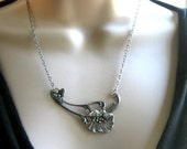 Poppy necklace, silver plated brass - antiqued silver pendant, flower necklace