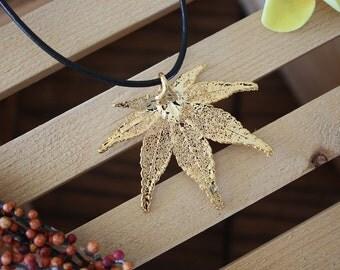 Gold Leaf Necklace, Real Leaf, Maple Leaf Pendant, Japanese Maple Leaf, 24kt Gold, LL2