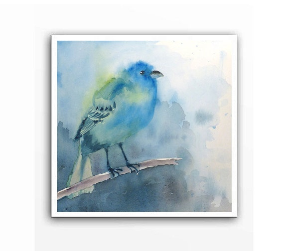 Bird Art / Watercolor Pint / Indigo Bunting / Housewarming Gift / Wildlife painting / Nature print / Blue painting / Aqua painting  10 x 10