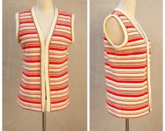 ORANGE cream soda sweater vest / nubby double knit cardigan Talbotts / womens small medium
