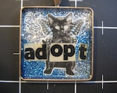 Adopt a Black Cat Pendant, Winged Kitty Spreads the Adoption Message, 50% goes to the current selected animal charity