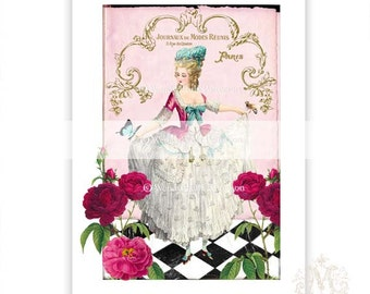 Marie Antoinette print, French corset, vintage style, red roses, blue butterfly, pink, collage, Giclee art print