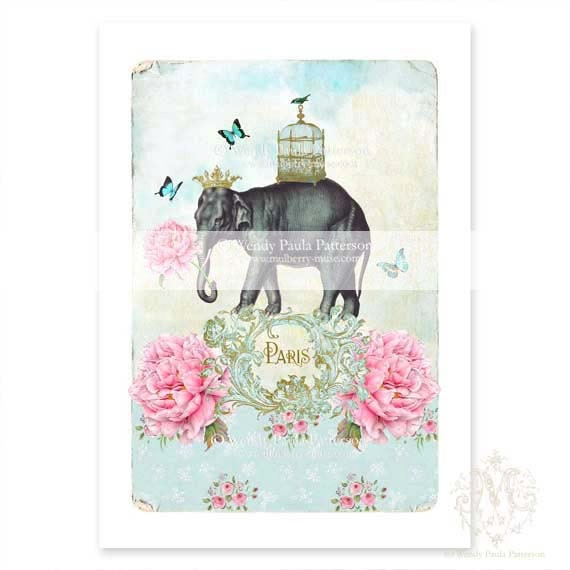 Elephant Print Nursery Pink Roses By CafeBaudelaire