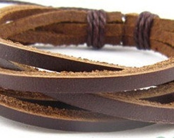 Brown Braided Leather Wrap Bracelet Cuff
