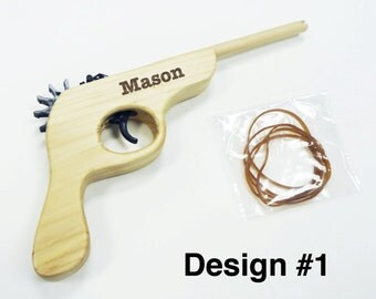 Ring Bearer Gift, Wedding, Custom Personalized Engraved Wooden Rubber Band Gun, Groomsmen, Birthday, Keepsake, Baby Announcement