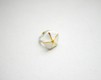 Coastal Porcelain - Porcelain Jewelry - Gold and White Starfish Concept Porcelain Ring - Jewelry - Adjustable - Nickel Free