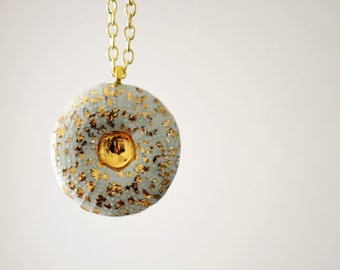 Porcelain Sea Urchin Pendant - 22k Gold Luster, minimalist jewelry, nickel free, turquoise, coral