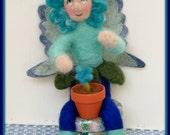 Gwendolyn Loves To Tend her Flowers - Needle Felted Handmade OOAK Flower Fairy Art Doll