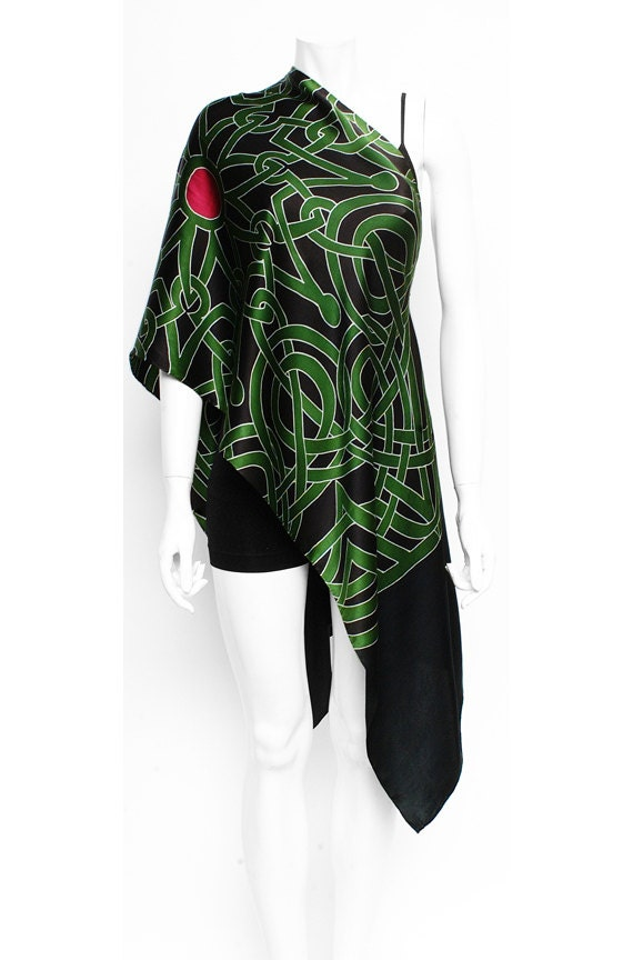 "Silk Scarf Hand Painted Celtic Design. Large Mandala in dark Green with Red center and black Background. Painted on Charmeuse Silk. 21""x72"""