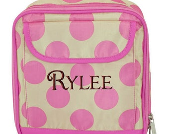 Girls Personalized Lunch Bag Pink Polka Dots Monogrammed School Snack Box Cooler