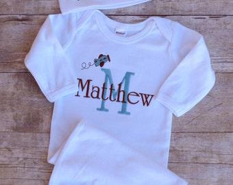 Personalized Newborn Baby Gown Hat Set Plane Monogrammed