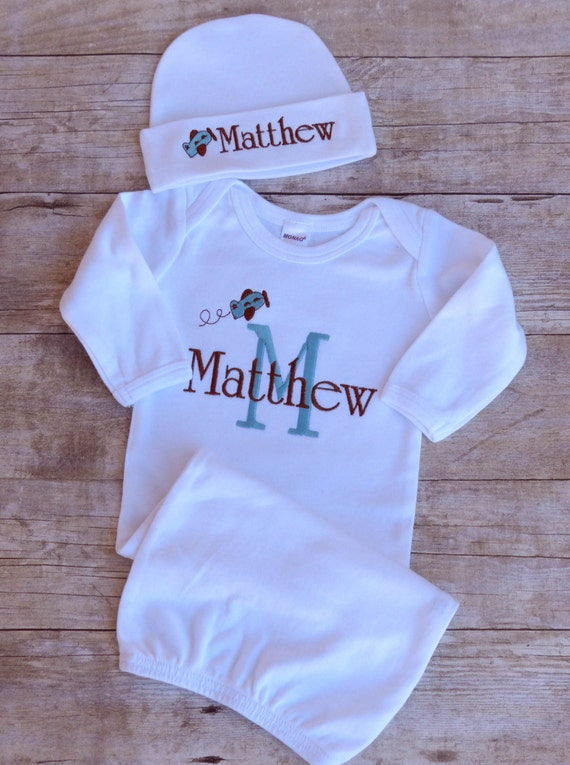 Personalized Newborn Baby Gown Hat Set Plane Monogrammed