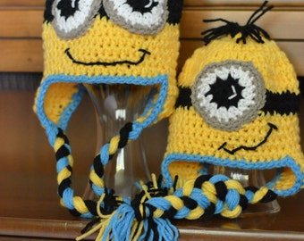 Minion Cartoon Character Crochet Hat - All Sizes Available - Newborn to Adult