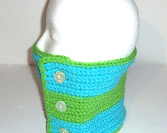 Crochet Scarf - Neck Warmer - Turquoise &Lime Green Gaiter - Crochet Button Up Scarf - Neck Gaiter - Ladies Neck Scarf - Warm Winter Scarf