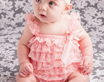 Baby Lace Romper Headband SET, Light Pink/Coral Lace Romper And Baby Headband, Baby Coral Outfit, Baby Photo Prop