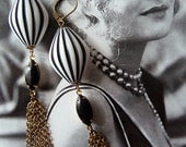 Black and White Earrings Stripes - Tassel Earrings - Art Deco Inspired - Vintage Jewellery - Chelsea Earrings (SD0616)