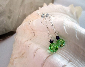 Peridot Green Crystal and Dark Purple Long Dangling Earrings - sterling silver chain