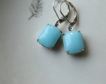 Pale Blue Earrings, Vintage Glass Earrings, Sky Blue, Silver Settings, Summer Trends