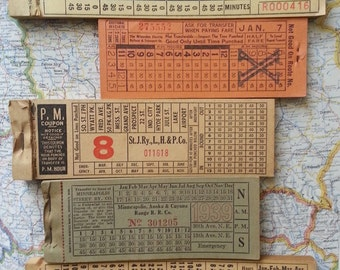 vintage giant tram trolleybus bus train tickets - 5 single tickets