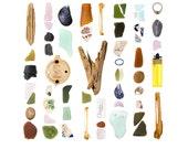 Campobello Beachcombing series No.5 - 12 x 12 photograph - driftwood, beach stone, seashell, seaglass, beach glass