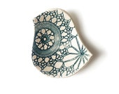 Lacy bird bowl in teal green blue and cream stoneware ceramic pottery with antique lace crochet imprint, ring dish, soap dish, candle holder
