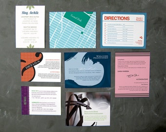 Extra cards for wedding invitations: direction, accommodation, maps, pre-wedding parties, and more