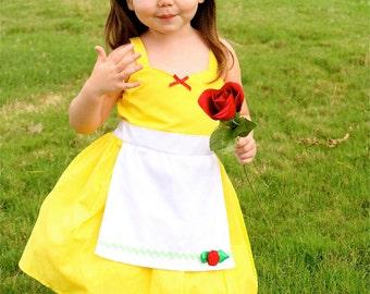 BELLE dress Princess costume Apron dress from Lover Dovers handmade girls Halloween Belle costume SALE