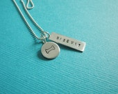 Personalized Pet Lover Name Necklace - Sterling Silver - Hand Stamped Custom Love My Pet Charm with heart paw bone or lucky horseshoe