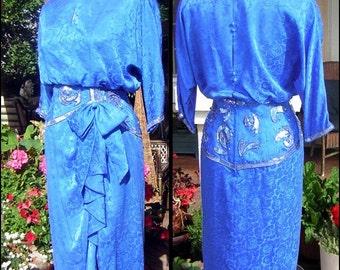 Vintage Royal Blue Silk Party Dress Sequins Rhinestones & Beads - Sash Hip Size 10 Petite