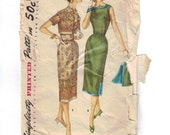 1950s Vintage Sewing Pattern Simplicity 1522 Misses Square Necked Dress and Jacket Size 14 Bust 32 50s 1956  99