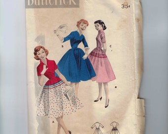 1950s Vintage Sewing Pattern Butterick 7561 Full Skirted Dress with Stand Up Collar  Size 12 Bust 30 50s B30  99