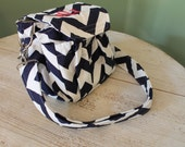 Monogrammed Personalized Custom Navy Chevron Camera Bag by Watermelon Wishes