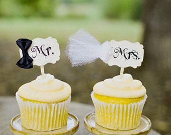 Mr. and Mrs. Bride and Groom Wedding Cupcake Toppers Picks -  Parchment - Set of 2 - 1 Pair - Rustic Vintage Style