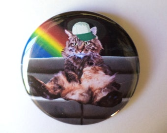 SALE Outer Space Rainbow Bro Cat Pinback Button OR Magnet -- 2.25 inch