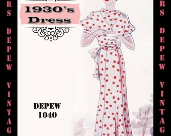 Vintage Sewing Pattern 1930's Dress in Any Size Depew 1040 Draft at Home Pattern - PLUS Size Included -INSTANT DOWNLOAD-
