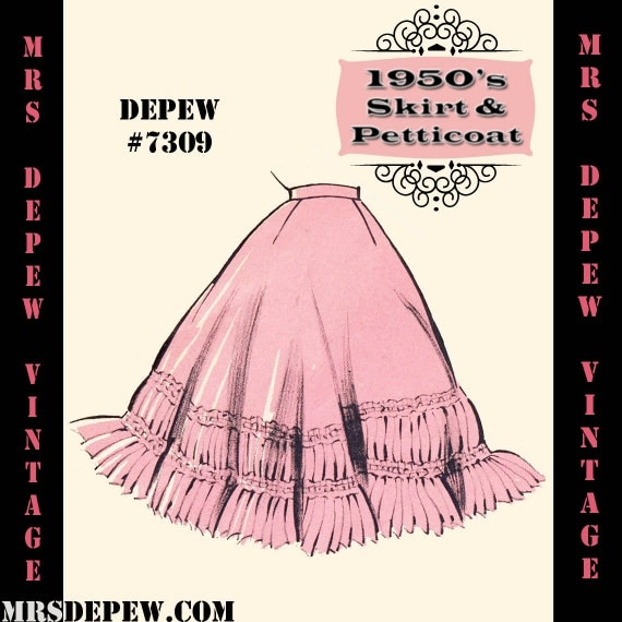 1950s Sewing Patterns | Swing and Wiggle Dresses, Skirts 1950s Petticoat Skirt in Any Size - PLUS Size Included - Depew 7309 -INSTANT DOWNLOAD- $7.50 AT vintagedancer.com