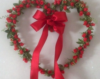 Red Rose Heart Wreath Home Decor Handmade Front door wreath decoration silk floral rosebuds under 60 Send flowers gifts