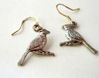 Crested Bird Earrings Silver Color Dangle Earrings