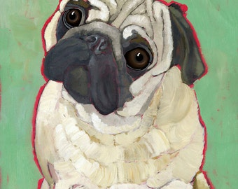 Pug No. 4 - Someone pooped in the hall! - magnets, coasters and art prints