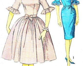 1960s Dress Pattern Simplicity 4254 Full Skirt Dress Sheath Dress Ruffled Cuffs Junior Teen Vintage Sewing Pattern Bust 30 1/2