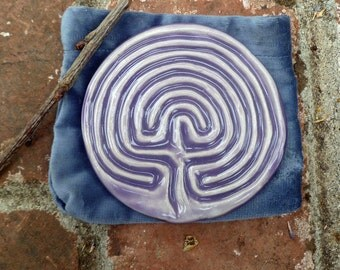 Classical Tracing Labyrinth with velvet sack and tracing stick-Light Purple Grape