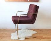 r e s e r v e d Modern Gold Glam Cantilever Milo Baughman Style Chair. Perfect Desk Chair