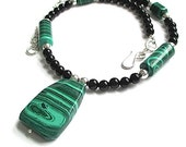 Green and Black Stone Necklace Malachite Black Onyx Gemstones Sterling Silver Bead