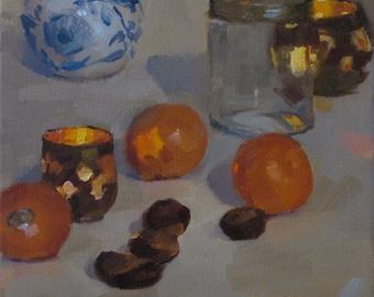 """Art painting still life """"Star Light"""" original oil 8x8in"""