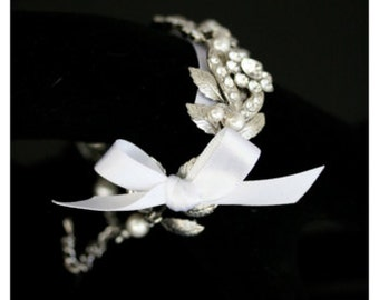 Wedding Bracelet Ribbon Bracelet Silver Leaf Bracelet Swarovski Crystal Rhinestone and Pearl Bridal Cuff White or Ivory Pearl MIER RIBBON