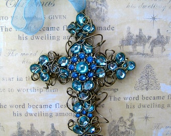 Wire-wrapped Cross Ornament - Something Blue Cross - Christmas Ornament -  Easter Cross Ornament - Confirmation Cross - Bridesmaid Gift