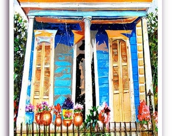"""New Orleans 13x19"""" Art Garden District House Signed Numbered Print """"Bloom Street"""""""